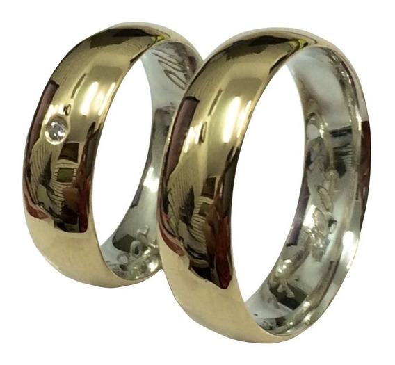 Par Aliança Prata 925 Revestida Em Ouro 18k 6mm Casamento