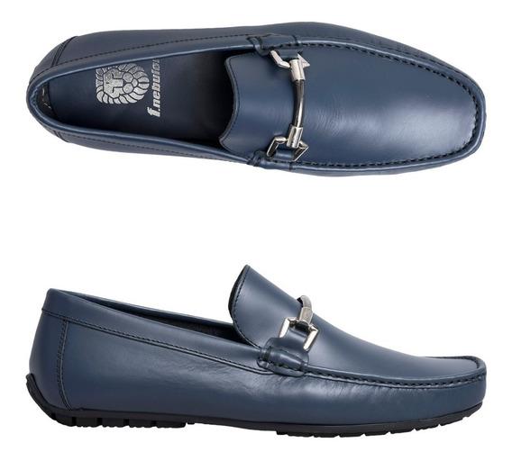 Zapato F.nebuloni Casual En Napa Tipo Mocasín Color Azul