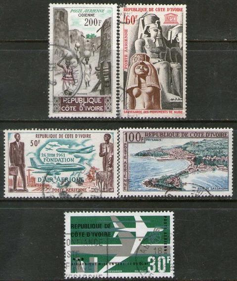 Costa De Marfil 5 Sellos Aéreos Usados Ramsés = Bahía 1962-6