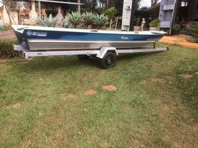 Barco Rebitado 6,00m, Motor Popa 20hp 4t Mercury, Carreta