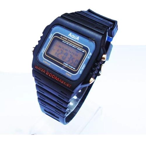 Relógio Masculino Barato Original Aqua A Prova Dagua Alarme.