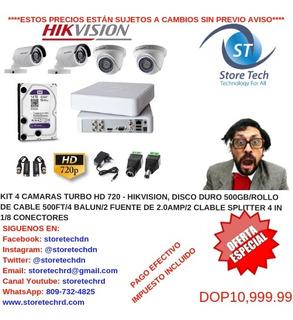 Kit 4 Camaras Turbo Hd 720 - Hikvision, Disco Duro 500gb/rol