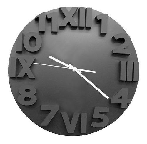 Imagen 1 de 4 de Reloj De Pared Rjp 1064 Negro Agujas Metálicas | Giveaway