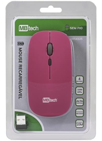 Mouse Óptico Sem Fio Recarregável 3200dpis Mbtech Mb54325