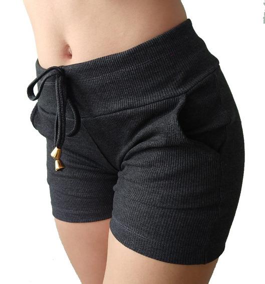 Kit 4 Shorts Feminino Ribana Canelado Tipo Moletom Atacado