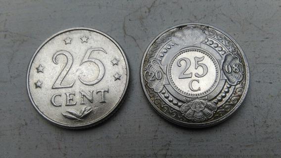 Antillas Holandesas Lote X 2 25 Centavos 1976 Y 2008