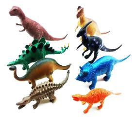 8 Dinossauro De Borracha Miniatura Brinquedo Jurassic