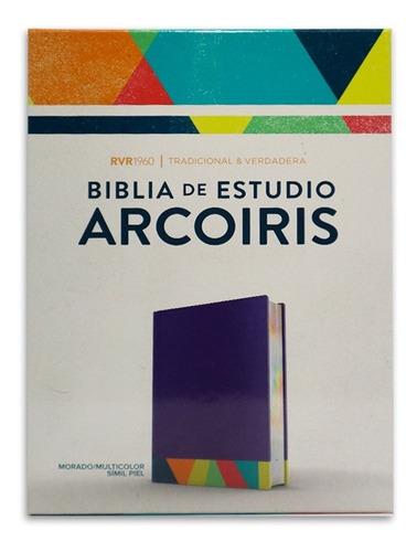Imagen 1 de 5 de Biblia De Estudio Arcoiris Rvr1960 Símil Piel Morado