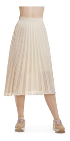 Falda Beige Con Forro Plizada Largo Maxi Devendi Denim Co