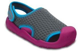 Zapato Crocs Niña Swiftwater Sandal K Rosa/gris