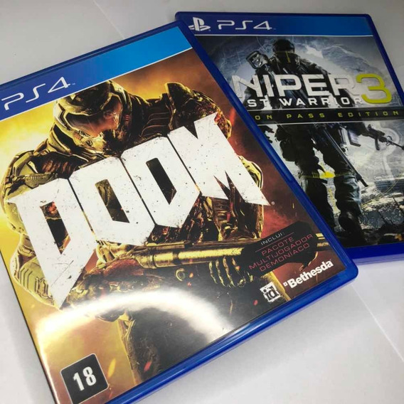 Jogos Ps4 Doom + Sniper 3 Ghost Warrior