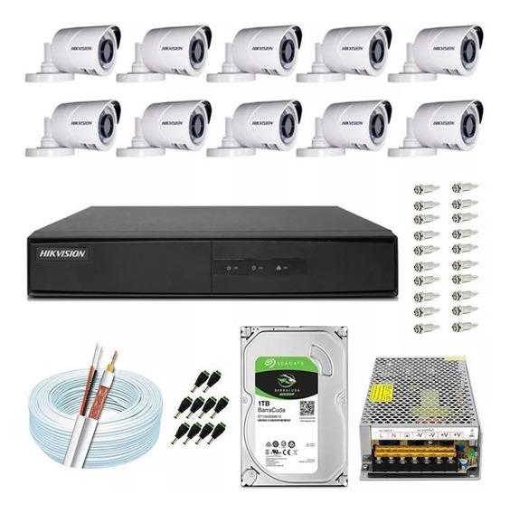 Kit 10 Câmeras Cftv Hikvision Full Hd 1080p 2m Dvr 16 Canais