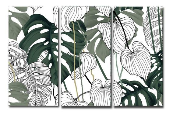 Cuadros Hojas Trípticos 60x90 Canvas Moderno Decorativo