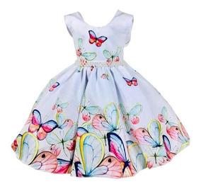 Vestido De Festa Infantil Branco Borboletas 4 Ao 16