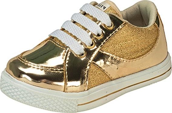 Tênis Infantil Plis Calçados Sintético Dourado 520
