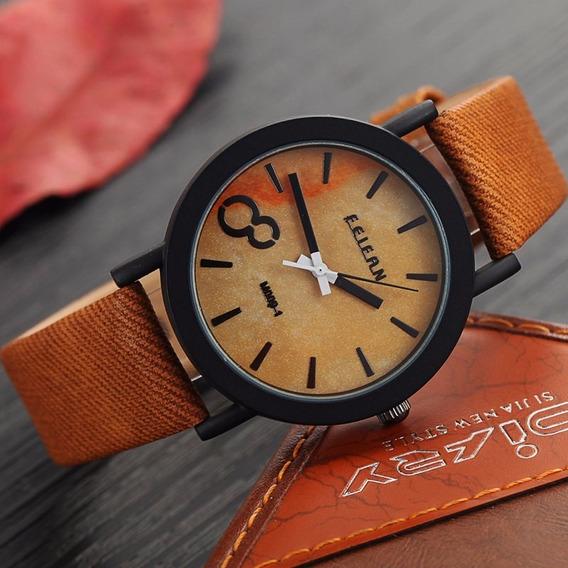 Relógio Feifan Madeira Couro Marrom - M009 Novidade