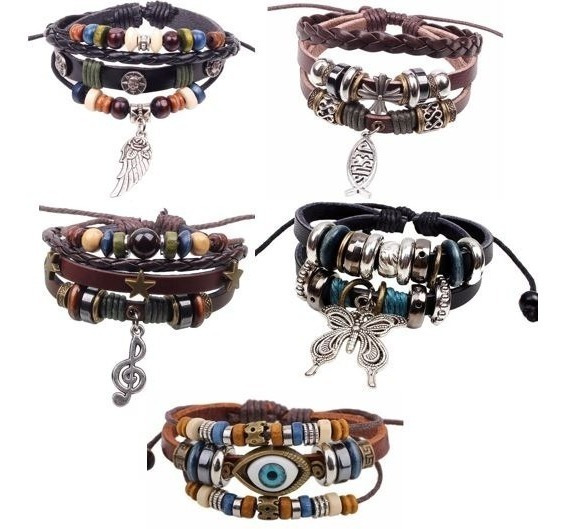 Pulseira Bracelete Feminina Couro Legitimo Olho Modelos