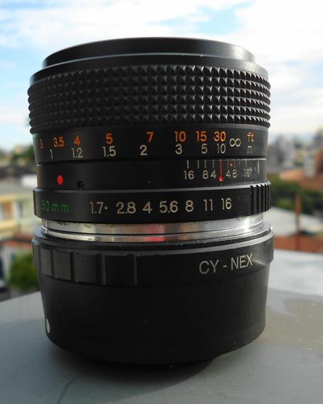 Objetiva Yashica Ml 50mm 1.7 Com Adaptador Sonynex