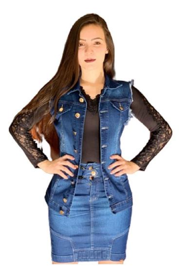 Moda Evangelica Conjunto Colete Com A Saia Jeans Com Lycra