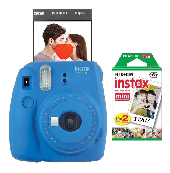 Câmera Fujifilm Instax Mini9 Azul Cobalto + Filme C/ 20 Pos.