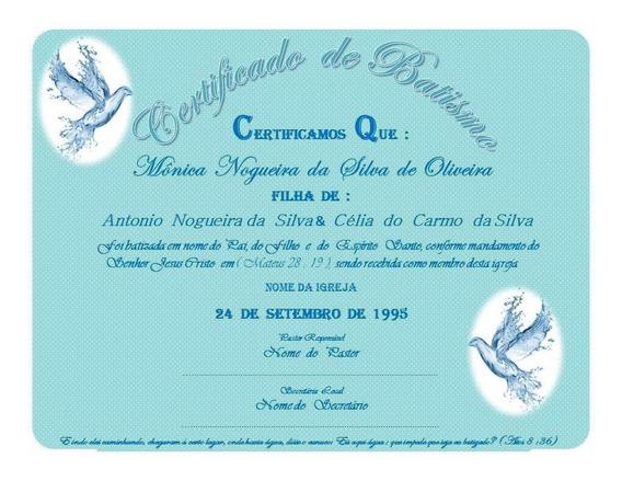 Certificado De Batismo - 10 Unidades