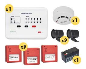 Kit Central Alarme Incêndio 24 Setor Bateria Botoeira Sirene