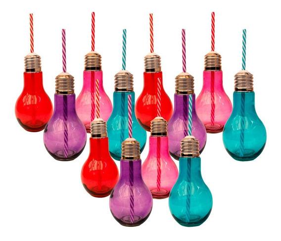 Mason Jars Foco Cristal 473ml Varios Colores Popote 12pack