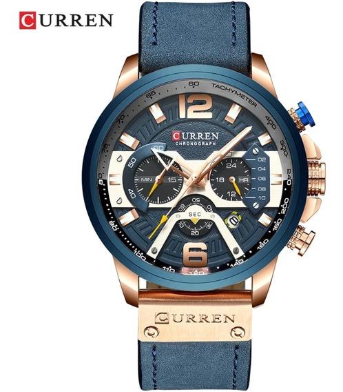 Relógio Curren Masculino 8329 Funcional Pulseira Couro Azul