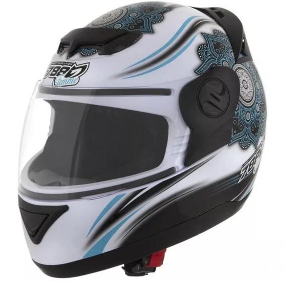 Capacete Moto Feminino Azul & Branco Liberty Evolution 788