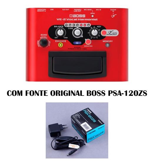 Pedal Boss Ve-2 Processador Vocal Ve2 + Fonte Original Boss