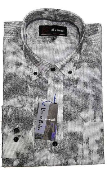 Camisa Estampada Molderia Normal Con Tablón En Espalda Azul