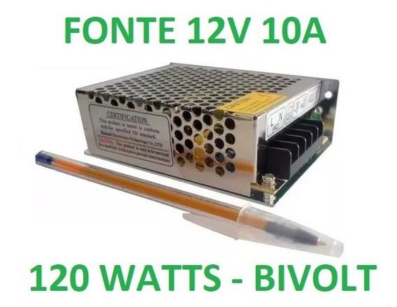 Fonte Chaveada Estabilizada 12v 10a Bivolt 13x10x4 10ah