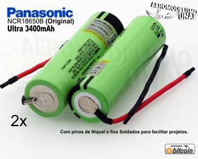2x Bateria Panasonic Ncr18650b Original 3,7v 3400mah C Fio