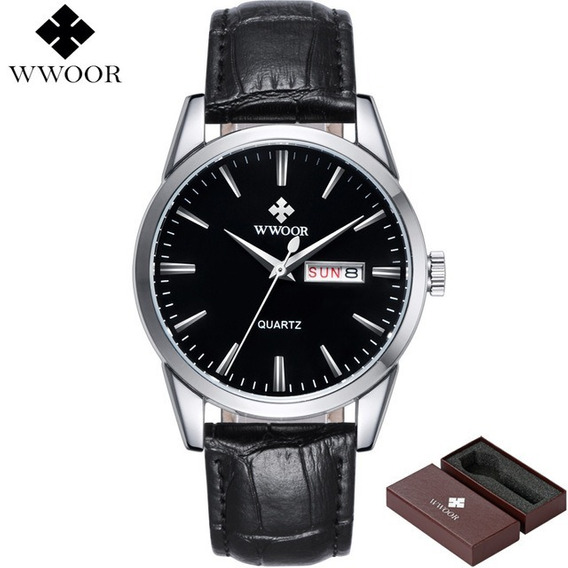 Relógio Wwoor Masculino Liga Quartz 8801 Sport Preto Prata