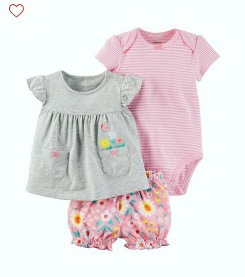 Carters Conjunto 3 Piezas Niña 9 12 Meses Body Vestido Short