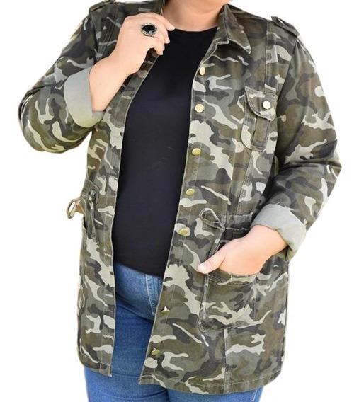 Parca Jeans Feminina Plus Size Camuflada Jaqueta Promoção