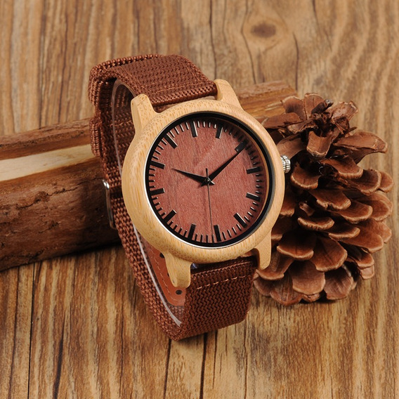 Relógio Unissex Bambu Madeira D09 Bobo Bird Pulseira Nylon