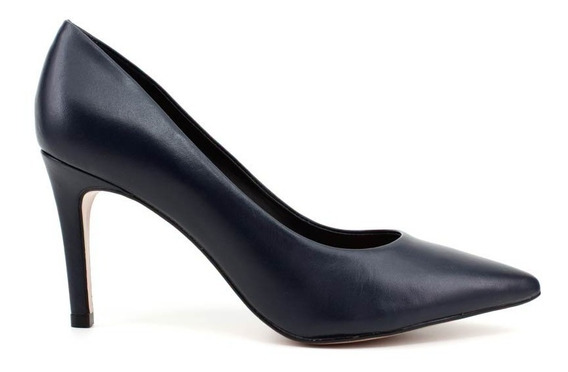 Sapato Scarpin Jse 011 Couro Azul Marinho Loja Pixolé