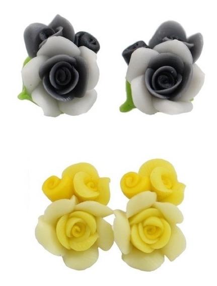 Brincos De Prata Feminino Flores De Cera Importada Kit Com 2