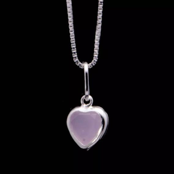 6 X Corrente Colar Feminino Ponto De Luz Coração Rosa Prata