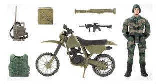 Soldado Con Moto Militar Armas Y Acesorios Tipo Gi Joe Nueva