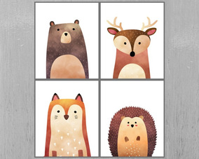 Láminas Imprimibles Infantiles Animales Set X 4