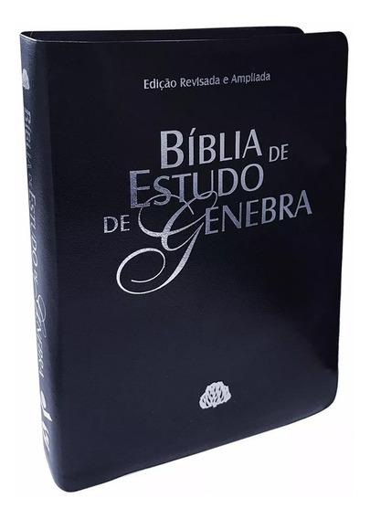 Bíblia De Estudo De Genebra - Azul Nobre - Luxo - Grande