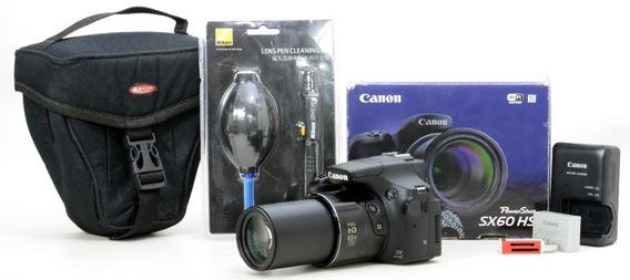 Canon Sx60 Novinha Com Cartão 16gb + Kit Limpeza + Bolsa