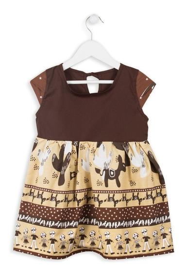 Vestido Infantil Menina Cordel Café Festa