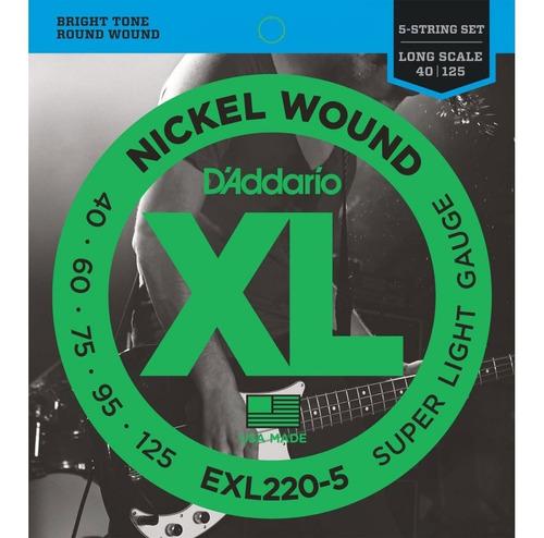 Cuerdas De Bajo D'addario Exl220-5 Nickel Wound 40-125