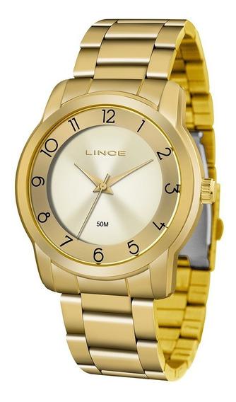 Relógio Lince Lrg4590l C2kx Analógico Dourado Original