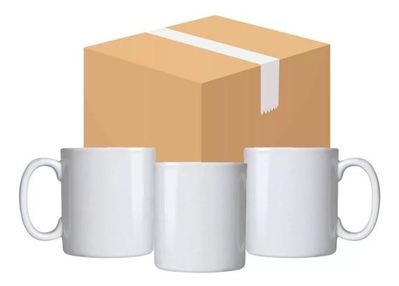 Caixa 12 Canecas Sublimação Porcelana Branca Resinada 325ml