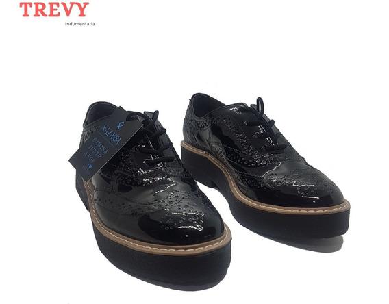 Zapatos Mujer Abotinado Charol Negro