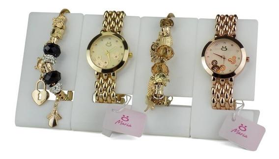 Kit 2 Relógios Feminino Dourado Rosê + 2 Pulseiras Original
